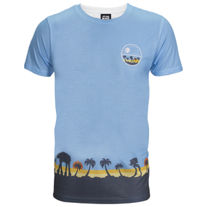 Star Wars Rogue One Men's Death Star Palm Tree T-Shirt - Blue