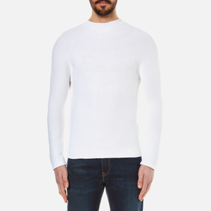KENZO Men's Seamless Horizontal Ribbed Knitted Jumper - White
