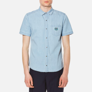 KENZO Men's Bleach Denim Tiger Short Sleeve Shirt - Sky Blue