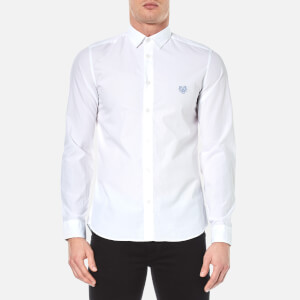 KENZO Men's Slim Fit Poplin Tiger Shirt - White