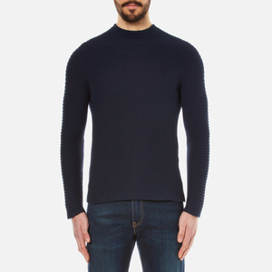 KENZO Men's Seamless Horizontal Ribbed Knitted Jumper - Midnight Blue