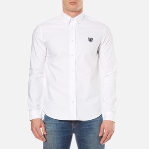 KENZO Men's Slim Fit Oxford Tiger Shirt - White