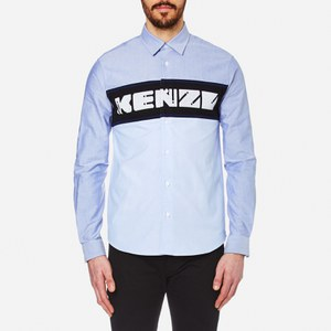 KENZO Men's Cotton Oxford Logo Panel Shirt - Sky Blue