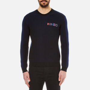 KENZO Men's Embroidered Logo Rib Knitted Jumper - Black