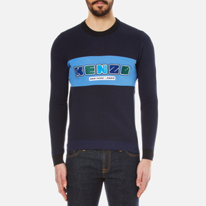 KENZO Men's Nasa Logo Waffle Knitted Sweatshirt - Midnight Blue