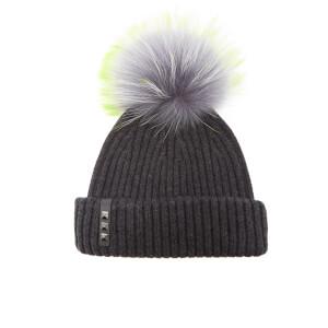 BKLYN Women's Merino Wool Hat with Grey/Lime Pom Pom - Charcoal