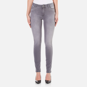 Karl Lagerfeld Women's Studded Slim Fit Denim Jeans - Grey