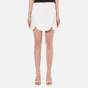 Alexander Wang Women's Mini Shortrow Peplum Lacing Skirt - Bleach