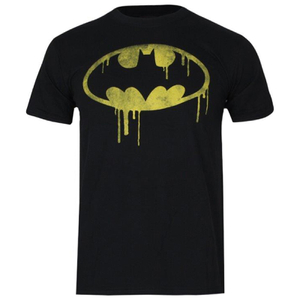 DC Comics Boys' Batman Dripping Logo Heren T-Shirt - Zwart