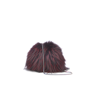 Diane von Furstenberg Women's Love Power Tipped Fox Puff Bag - Oxblood
