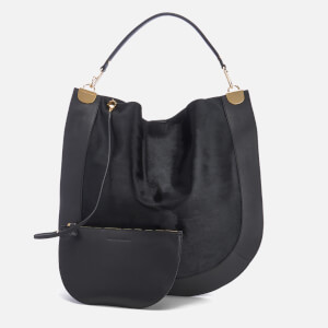 Diane von Furstenberg Women's Moon Calf Hair/Leather Large Hobo Bag - Black