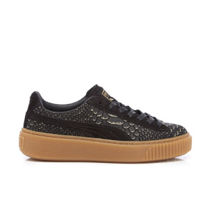 Puma Women's Basket Platform Exotic Skin Trainers - Black/Gold