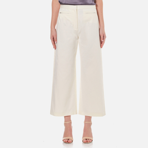 T by Alexander Wang Women's Stretch Cotton High Waisted Culottes - Eggshell