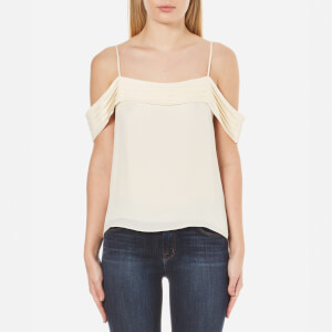 T by Alexander Wang Women's Silk Georgette Pleated Off the Shoulder Top - Eggshell