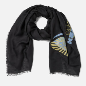 KENZO Icons Jaquard Fil Coupe Scarf - Black