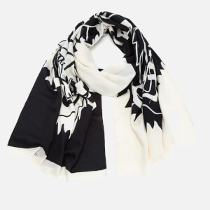 KENZO Modal Tiger Chest Icon Scarf - White/Black
