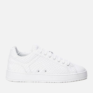 ETQ. Men's Low Top 4 Embossed Leather Trainers - Ice Python