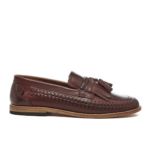 H Shoes by Hudson Men's Zair Calf Leather Tassle Weave Loafers - Cognac
