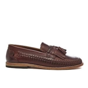H Shoes by Hudson Men's Zair Calf Leather Tassle Weave Loafers - Cognac
