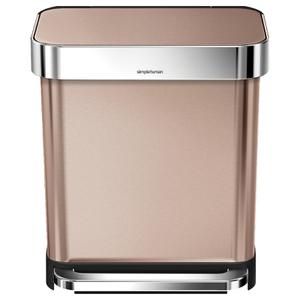 simplehuman Rectangular Brushed Steel Pedal Bin with Liner Pocket - Rose Gold 30L