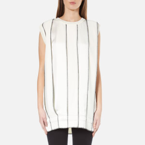 DKNY Women's Sleeveless Reversible Panelled Tunic with Drawcord and Exposed Label - Gesso/Black