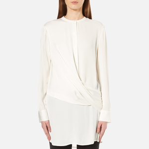 DKNY Women's Long Sleeve Wrap Front Tunic Shirt - Gesso