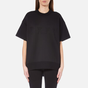 DKNY Women's Short Sleeve Pullover with Front Logo and Rib Trims - Black