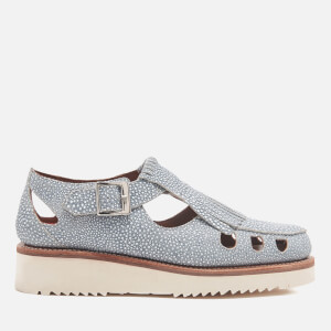 Grenson Women's Ethel Stingray Leather Flats - Blue