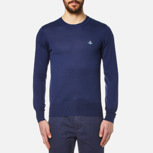 Vivienne Westwood MAN Men's Crew Neck Classic Knitted Jumper - Blue