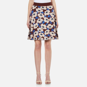 Sportmax Code Women's Nasca Floral Knitted Skirt - Bordeaux