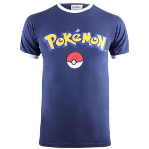 T-Shirt Homme Pokémon Logo - Bleu Marine/Blanc