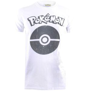 Pokemon Herren Pokeball Symbol T-Shirt - Weiß