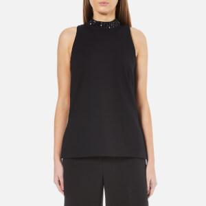 MICHAEL MICHAEL KORS Women's Embellished Split Hem Tunic Top - Black