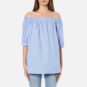 MICHAEL MICHAEL KORS Women's Stable Stripe Off The Shoulder Top - Oxford Blue