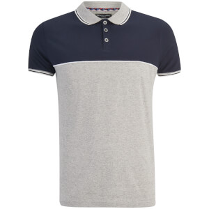 Brave Soul Men's Lorenzo Panel Polo Shirt - Light Grey/Navy