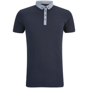 Brave Soul Men's Chimera Chambray Placket Polo Shirt - Navy