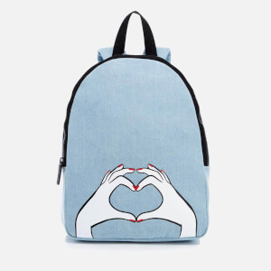 Lulu Guinness Women's Heart Hands Large Denim Backpack - Denim