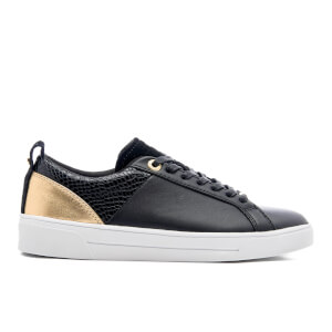 Ted Baker Women's Kulei Leather Cupsole Trainers - Black/Rose Gold
