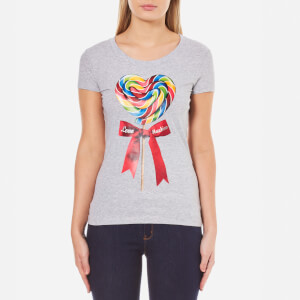 Love Moschino Women's Fitted Candy Bow T-Shirt - Melange Grey