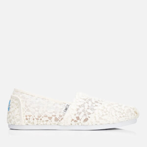 TOMS Women's Alpargata Slip-On Pumps - White Lace Leaves