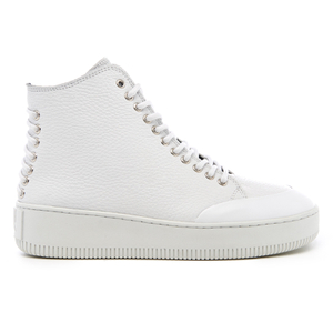 McQ Alexander McQueen Women's Netil Laced Eyelets Leather Hi-Top Trainers - White