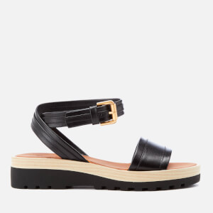 See By Chloé Women's Leather Flatform Sandals - Black
