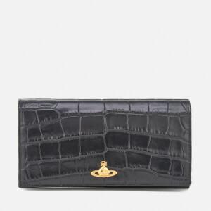 Vivienne Westwood Women's Royal Oak Croc Leather Long Wallet with Chain - Black