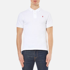 AMI Men's Heart Logo Polo Shirt - White