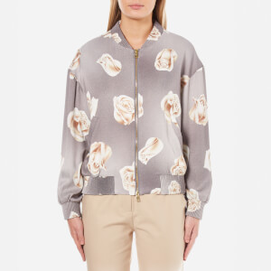 Boutique Moschino Women's Rose Print Bomber Jacket - Grey