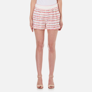 Boutique Moschino Women's Tweed Style Shorts - White