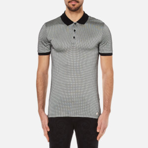 Versace Collection Men's Printed Polo Shirt with Contrast Collar - Black
