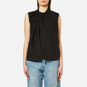 MM6 Maison Margiela Women's Tie Neck Detail Sleeveless Shirt - Black