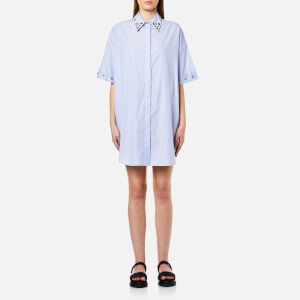 MM6 Maison Margiela Women's Shirt Dress with Collar Popper Detail - Micro Stripes Blue