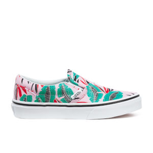 Vans Kids' Classic Tropical Leaves Slip-On Trainers - Pink Lady